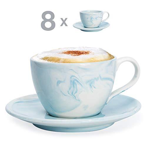Hausmann & Söhne Cappuccino Tassen dickwandig   Set 16-TLG.   8er Set Blaue Marmor Tassen mit Untertasse   Porzellan   Tasse 170 ml (200 ml randvoll)   Geschenk Weihnacht