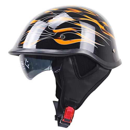 HXYT Fahrradhelm, Retro-Harley-Styling/Coole Musterform & Schutzfutter Abnehmbarer Halbhelm/DOT-Zertifiziert Sommer Männer und Frauen Motorradhelm (ABS),M