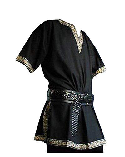 Shaoyao Herren Steampunk Kurze Ärmel Mittelalterliches Gothic Renaissance Jacke Cosplay Uniform...