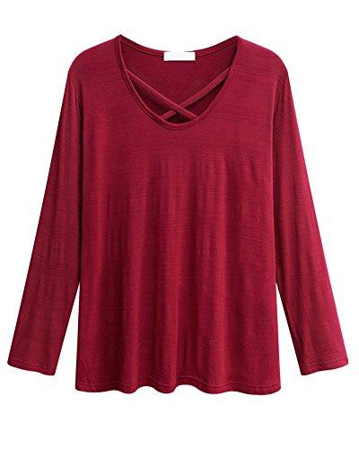 Donna Maglietta Manica Lunga Girocollo Casuale Camicetta T-shirt Tops Taglia Grossa 4XL Bodeaux