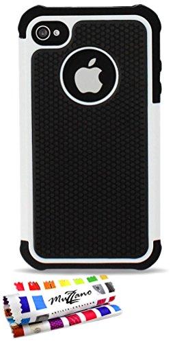 Flip-Case APPLE IPHONE 4S [CroCoChic Premium] [Schwarz] von MUZZANO + 3 Display-Schutzfolien UltraClear + STIFT und MICROFASERTUCH MUZZANO® GRATIS - Das ULTIMATIVE, ELEGANTE UND LANGLEBIGE Schutz-Case weiß