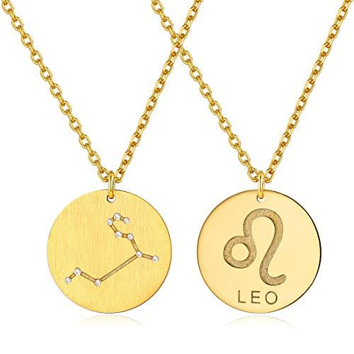 ChicSilver 12 Sternbild-Serie der Löwe- Gravierte Sternzeichen-Halskette aus Silber 925 mit Datums-Gravur auf der Rückseite, Geschenk zum Geburtstag für Mama