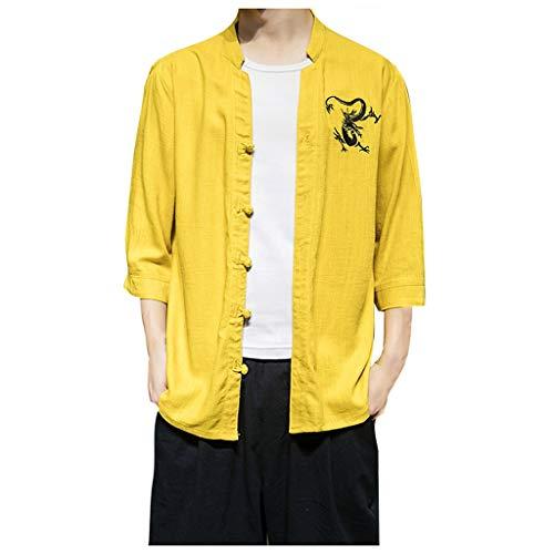 REALIKE T-Shirt Herren Premium Design Herrenhemd, Lange Ärmel, Dunkelblauer Stickerei in der Knopfleiste, Langarm, Slim/Normal & Regular-Plus Fit Retro Männer Drucken Top -
