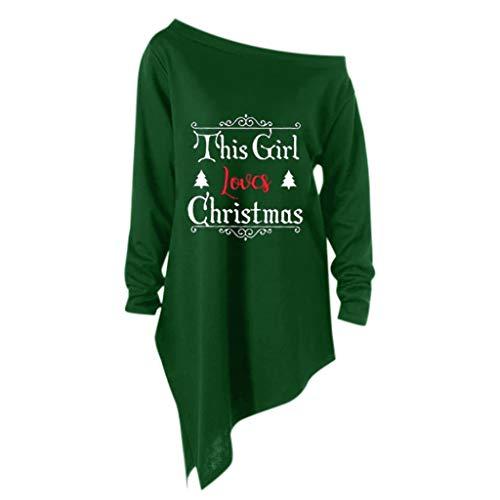 50's Zubehör Kostüm Girl - masrin Sweatshirt Damen Oberteile Fashion This Girl Love Christmas Letter Print Shirt Kleid Skew Kragen Unregelmäßiger Saum Bluse(XL,Grün)
