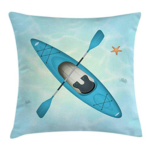 Accent Knit Top (Juziwen Oars Throw Pillow Cushion Cover, Top Vista of Kayak and Starfish in Tranquil Water, Decorative Square Accent Pillow Case,Pale Blue Sea Blue Mint Green Persian Orange 20x20inch)