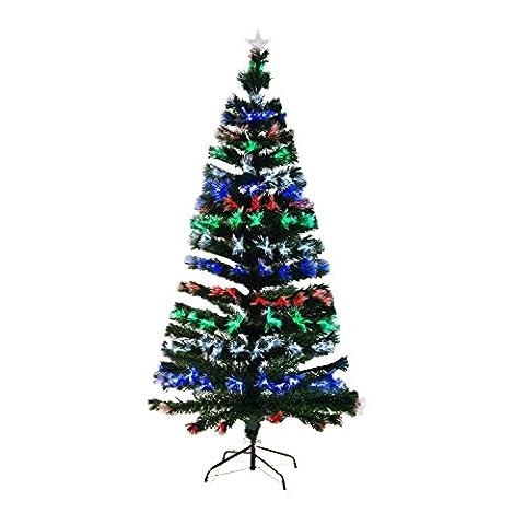 Homcom 830-026 Weihnachtsbaum LED künstlicher Christ/Tannenbaum Glasfaser 180 cm