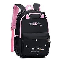 Bansusu Cute Cat Primary School Backpack Book Bag for Elementary Girls Bookbag Rucksack