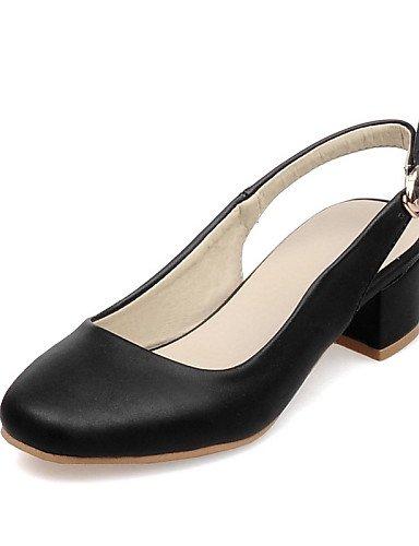 UWSZZ IL Sandali eleganti comfort Scarpe Donna-Scarpe col tacco-Ufficio e lavoro / Formale / Casual-Tacchi / Punta squadrata-Quadrato-Finta pelle-Nero / Blu / Rosa / Beige Black