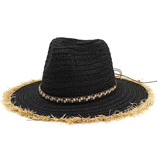 HGYIO Raw-Jazz-Mütze für Mädchen, Outdoor-Strandmütze, Sonnenschutz für Frühling und Sommer,Black (Für Bulk Kinder Stroh-cowboy-hut)