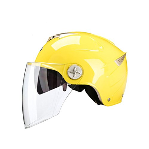 Integralhelme Motorradhelm Four Seasons Universal Sun Helm Sommer Leichtgewicht Helm Herren Lady Elektro Helm Dual Lens Schutzhelm Racing Schutzhelm Reithelm (Color : Yellow, Size : One size) (Lady Halben Körper)