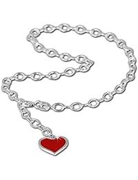 SilberDream bijoux collection - chaîne de pied avec coeur, longeur env. 25cm - Bracelet de cheville SDF006