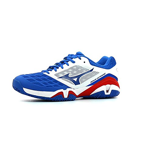 Mizuno Wave Intense Tour Cc, Chaussures de Tennis homme Multicolore (White/StrongBlue/ChineseRed)