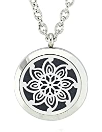 JOYMIAO Flower Pattern Perfume Oil Diffuser Locket Pendant Surgical Stainless Steel Necklace for Women with 8 Color Pads and Chain