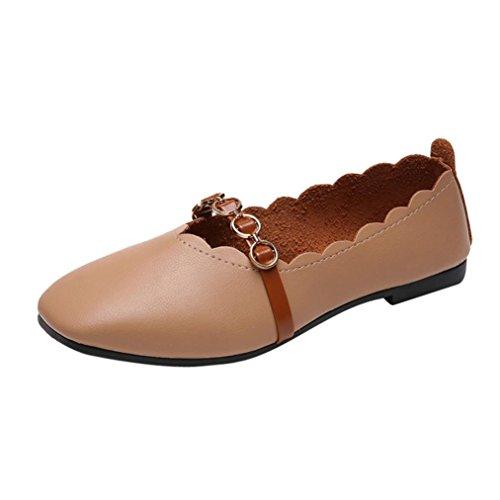 Covermason Zapatos Zapatos planos mujer, planos de color puro con punta cuadrada para mujer