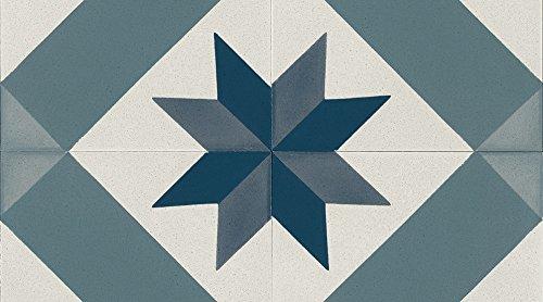 Gerflor TEXLINE® PVC Vinyl Bodenbelag - 2080 Cordoba Blue Linoleum Rolle Fußbodenbelag Vinylbahnen Steindekor, Fliesenoptik - Breite 4m