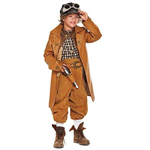 Krause & Sohn Kinderkostüm Steampuk Junge Viktor Deluxe braun inkl. Zubehör Mütze Fliegerbrille futuristisch Zeitalter Viktorian Fasching Karneval (110) (Futuristische Kostüm Kinder)