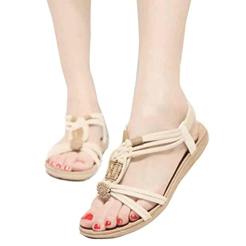 Fulltime®Femmes Bohemia Sweet Beaded Sandales Clip Toe Sandales Chaussures de plage Beige