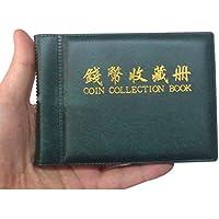 Pixnor Penny di soldi tasche Album libro 60 moneta titolari collezione deposito verde scuro