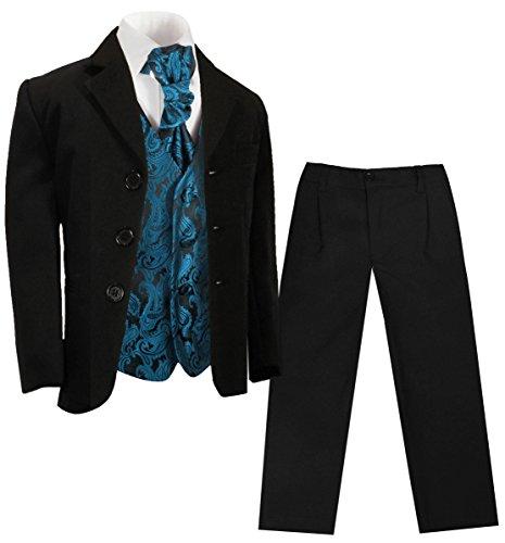 Paul Malone - Jungen Anzug/Kinder Anzug festlich schwarz + Petrol Paisley Hochzeit Weste + Plastron 1