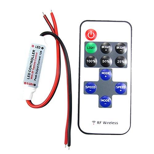 Godagoda 12A 5 V-24 V LED RF Wireless Mini Remote Dimmer Controller Fernbedienung mit DC-Kopf oder rot schwarz Kabel