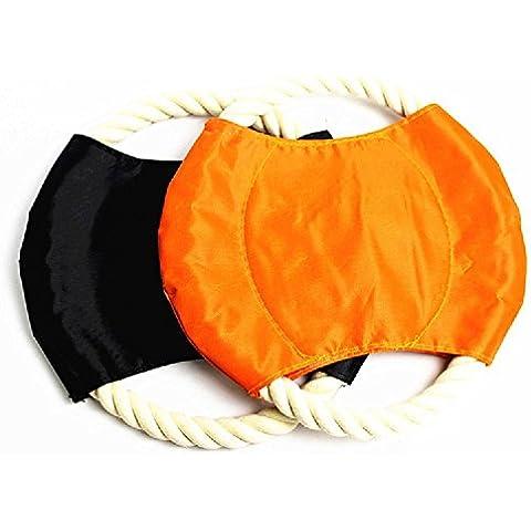 XJoel Pet tirar de la cuerda de algodón juguete Frisbee Dog Chew herramienta de formación juguetes al aire libre Bolsas Disco de vuelo Conjunto de 2 (color al