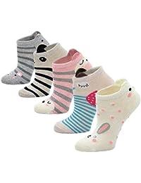 LOFIR Calcetines Divertidos de Algodón para Niñas Calcetines con Dibujos de Animal Perro Gato, Calcetines Vistosos, Calcetines Novedad para Niños de 2 a 11 Años, Talla 20-34, 5 pares