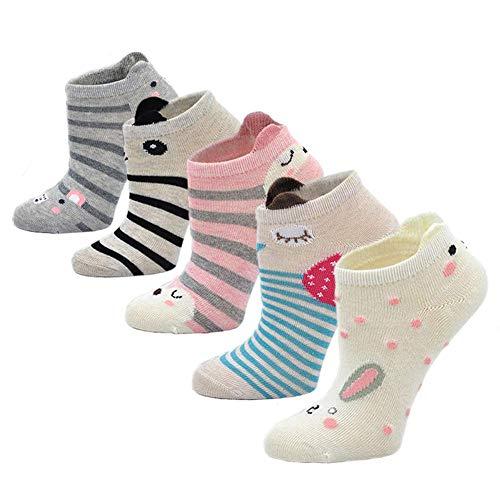 Kinder Socken Baumwolle Sneaker Socken Kleinkind Mädchen Karikatur Niedliche Tier Socken Lässige Sport Schulen Laufen Socken Größe 20-34, für 2-11 Jahre, 5 Paare (Mädchen-sport-socken)