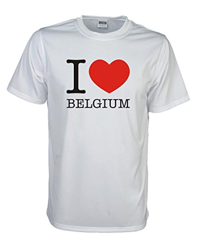 T-Shirt I love Belgien BELGIUM, bedrucktes Länder Fanshirt, Ich liebe .. Loveshirt Liebesbeweis für dein Heimatland, große Größen S-5XL (WMS11-11) Mehrfarbig