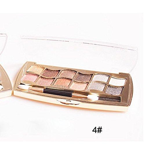 Internet 12 couleurs femmes Pro Shimmer Eyeshadow Palette & brosse cosmétiques maquillage Set 4#