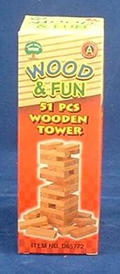 miniature de jeu de la tour de bois Jenga - 51 pièces