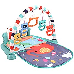 Blanketswarm Gym Mat for Baby,Infant Activity Fitness Kick and Play Mat with Piano Mirror and Hanging Rattle Toys for Girl and Boy Newborn Educational Game Toy