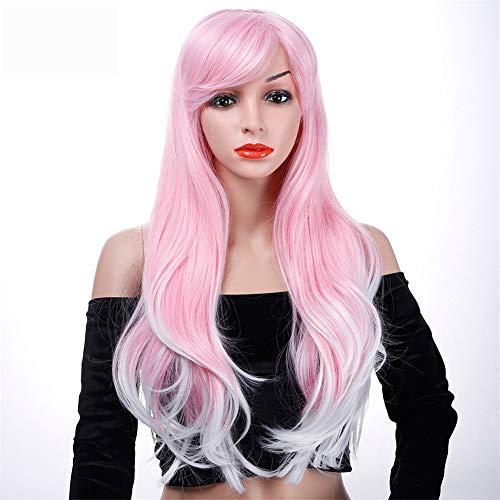 Parrucca parrucche parrucca lunga ondulata di cosplay di halloween parrucche finte parrucche rosa per capelli sintetici resistenti al calore nero/nero