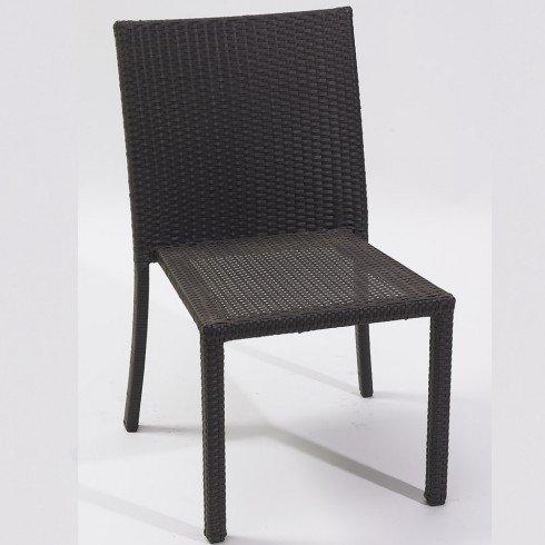 DCB GARDEN PVC-2-CH+ Encastrable 2p en résine tressée Plateau Verre – 1 Table + 2 fauteuils + 2 poufs Chocolat, 105x60x75 cm