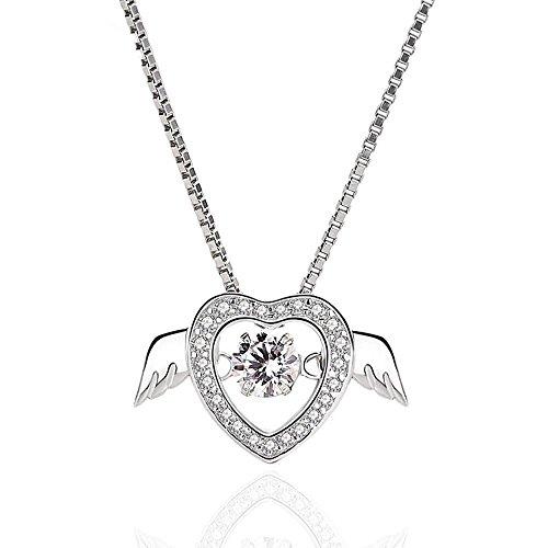 Aoligei Intelligente herzförmigen Crystal Necklace Weibliche s925 Sterling Silber Ornament Angel Wings Liebe Flügel Elegantes Schlüsselbein Kette