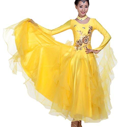 Tango Kostüm Tanz Männer - MoLiYanZi Ballsaal Tanzkleider Für Frauen Tango Tanzende Kleidung Wettbewerb Tanzbekleidung Lange Ärmel Trikot Bekleidung und Accessoires, Yellow, XL