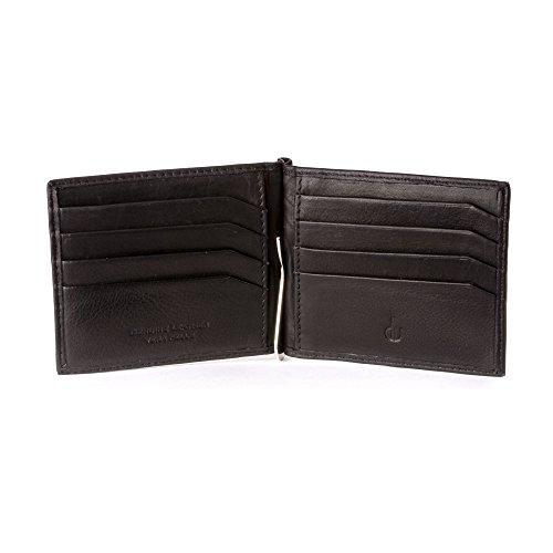 DV Portafoglio uomo Fermasoldi in Vera Pelle Nappa Luxury con 8 tasche Porta Carte Tessere Nero