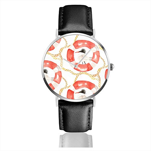 Business Analog Watches,Coastal Sea Bird White Classic Stainless Steel Quartz Waterproof Wrist Watch with Leather Strap