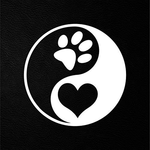 Yin yang yoga love Pet Hund Katze Laptop sticker Auto Aufkleber (Weiss) (Weiße Katze-laptop-aufkleber)
