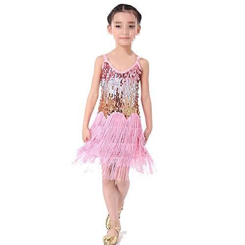 Peggy Gu Kostüm Cosplay Prinzessin Mädchen Latin Dance Dress Kinder Kinder Pailletten Fransen Bühnen Performance Wettbewerb Ballroom Dance Kostüm Schicke Party (Farbe : Rosa, Größe : - Wettbewerb Ballroom Dance Kostüm