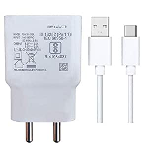 Quick Charger For Samsung Galaxy A51 Charger Original Adapter Wall Charger   Type-C Mobile Charger   Type-C Charger Cable Fast Charging Mobile Charger   Type C Fast Charger   Type C Android Charger with 1 Meter USB Type C Charging Data Cable (2.4 Amp, White)