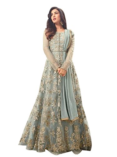 FKART Women's Latest Designer, Party Wear, Traditional, Embroidered Grey Color (Semi-Stitched_Free Size)...