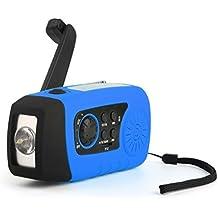 [La prima Torcia Energia Solare] OUTAD Torcia LED da Campeggio 4-in-1 ad Energia Solare & Radio Solare con Dinamo & Batteria Portatile per Cellulari & MP3 Musica Player con Scheda TF (blu)