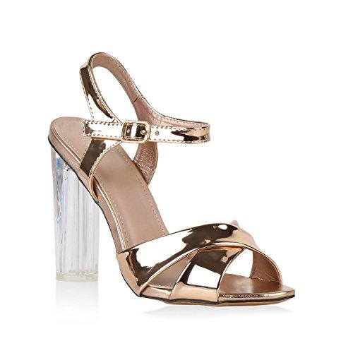 Damen Schuhe Party Sandaletten Lack Metallic High Heels Stilettos 141069 Rose Gold Amares Lack 39 Flandell