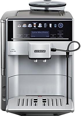 Siemens TE603201RW - Cafeteraexpressoautomática, funciónoneTouch, selección automática de bebidas, acero inoxidable