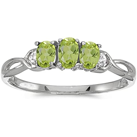 14 K oro blanco oval Peridot y diamante de tres piedras anillo