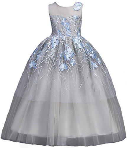 AGOGO Mädchen Tutu Kleider Kinder Festlich Kleider Brautjungfern Kleid Prinzessin Hochzeit Party Kleid Spitze Spleiß Chiffon Festzug Maxikleid Gr. 104 116 128 134 140 152 164 176 (152, grau 2)