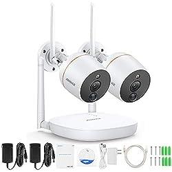 ANNKE Funk Überwachungskamera System HD 1080P 4CH Wireless Audio Video NVR Überwachungssystem mit 2 Outdoor 1080P WLAN Kamera Video Überwachungsset, Zwei-Wege-Audio, PIR Alarm, TF-Speicherung bis 128G
