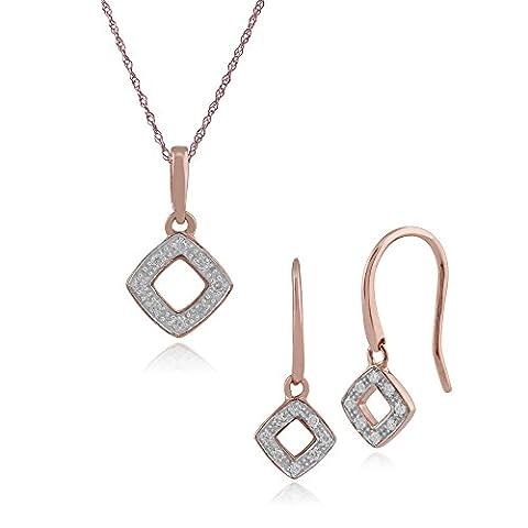Gemondo 9ct Rose Gold 6pt Diamant Drop Ohrring und 45cm Halskette Set (0,03 Ct Diamant-set)