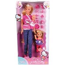 Simba 105730290 - Steffi Love Hello Kitty con Evi, Bebè ed Accessori