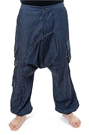FANTAZIA Pantalon sarouel baggy jean denim mixte - XXL - (44-46)